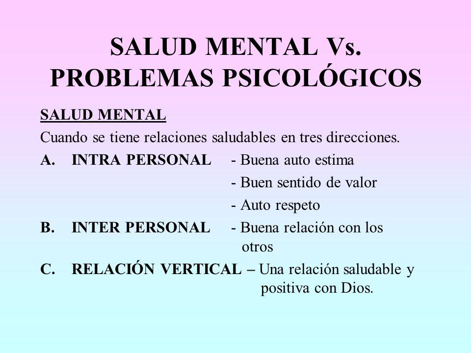 SALUD MENTAL Vs. PROBLEMAS PSICOLÓGICOS