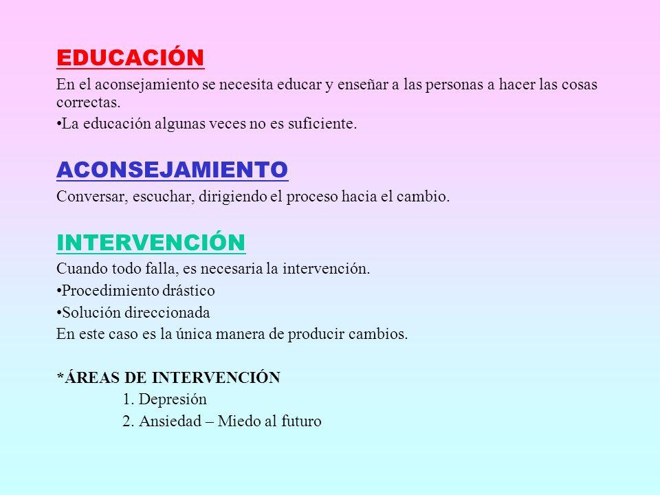 EDUCACIÓN ACONSEJAMIENTO INTERVENCIÓN