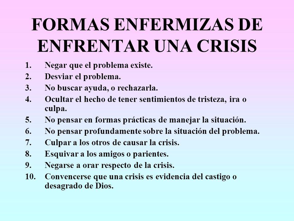 FORMAS ENFERMIZAS DE ENFRENTAR UNA CRISIS