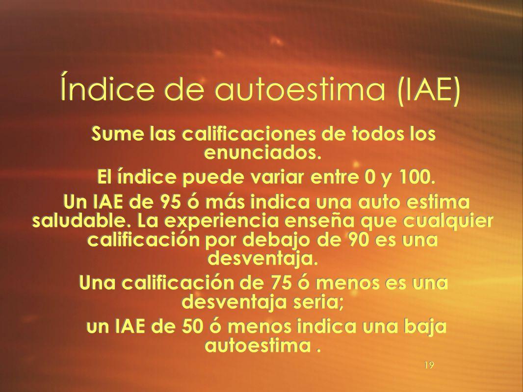 Índice de autoestima (IAE)