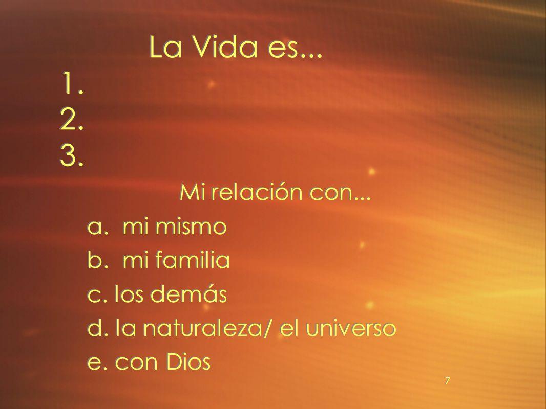 La Vida es... 1. 2. 3. Mi relación con... mi mismo mi familia