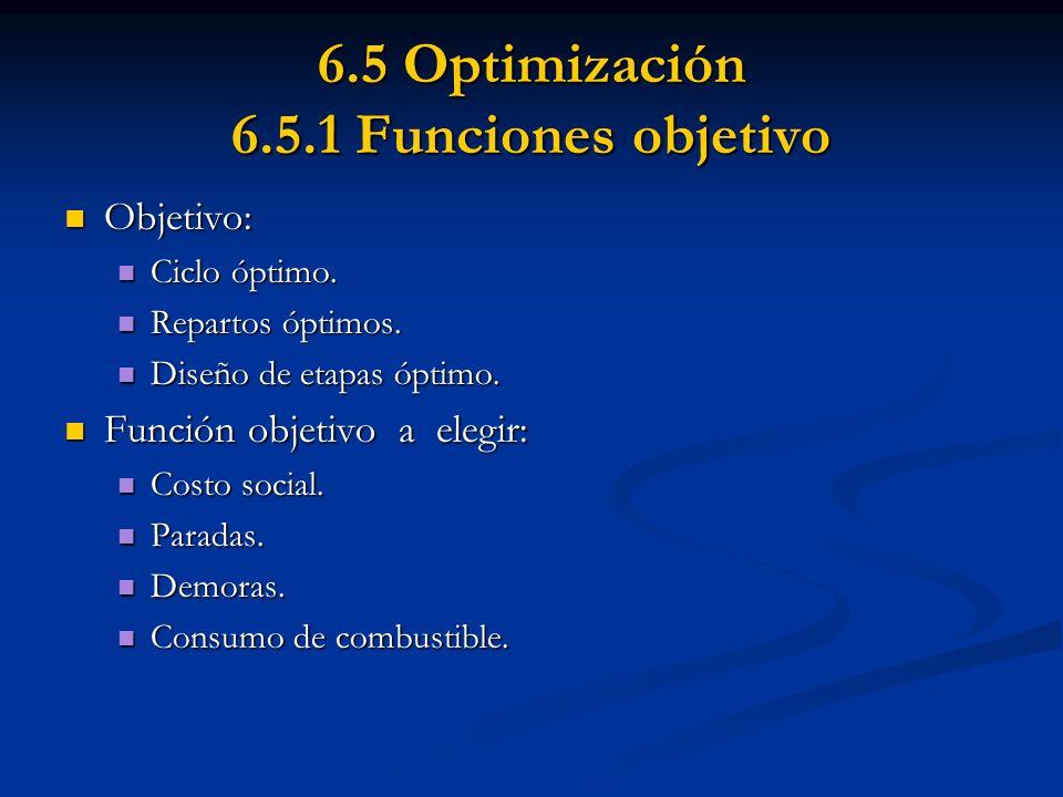 6.5 Optimización 6.5.1 Funciones objetivo