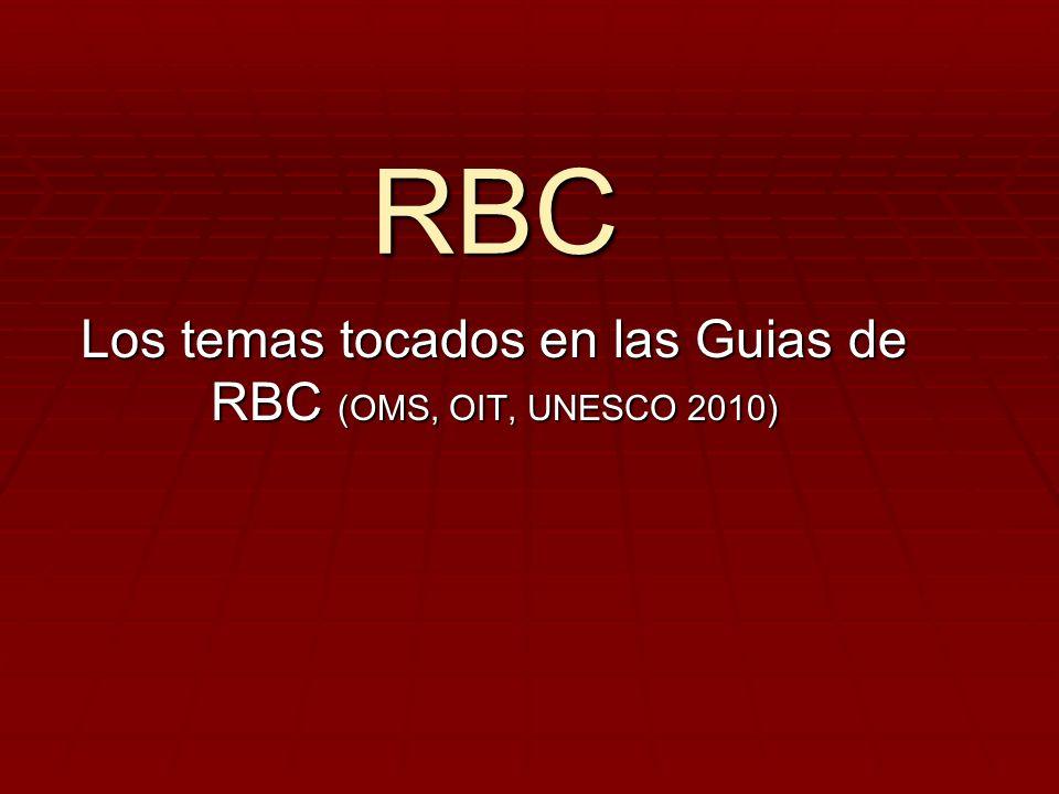 Los temas tocados en las Guias de RBC (OMS, OIT, UNESCO 2010)