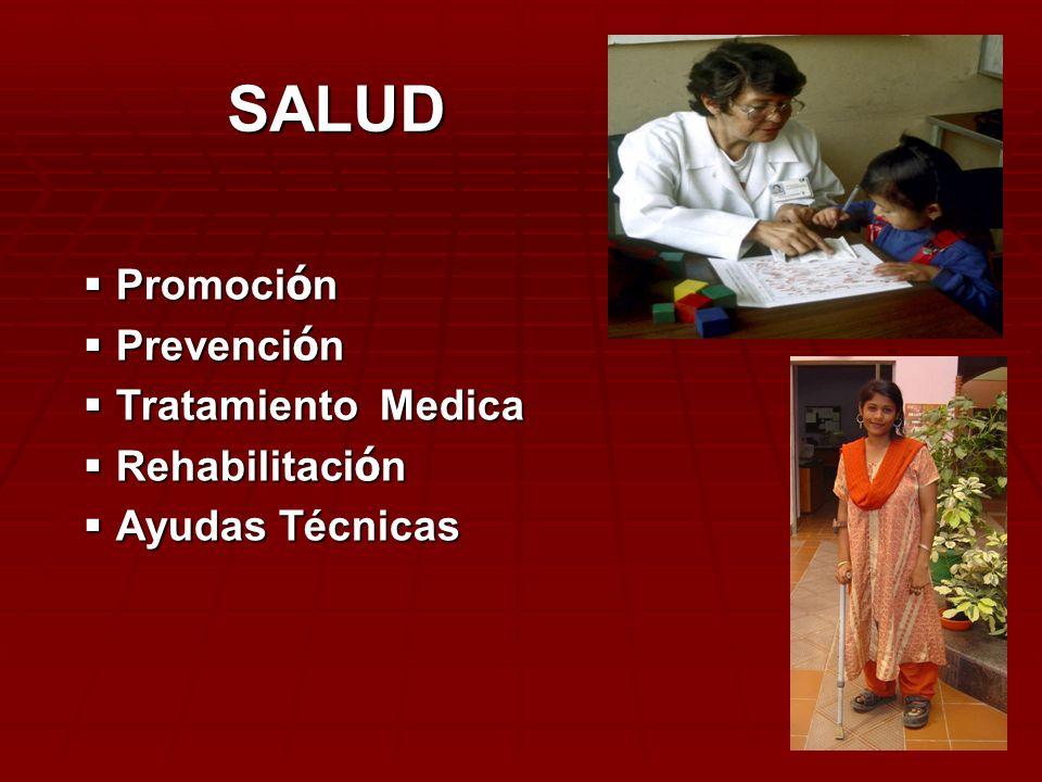 SALUD Promoción Prevención Tratamiento Medica Rehabilitación