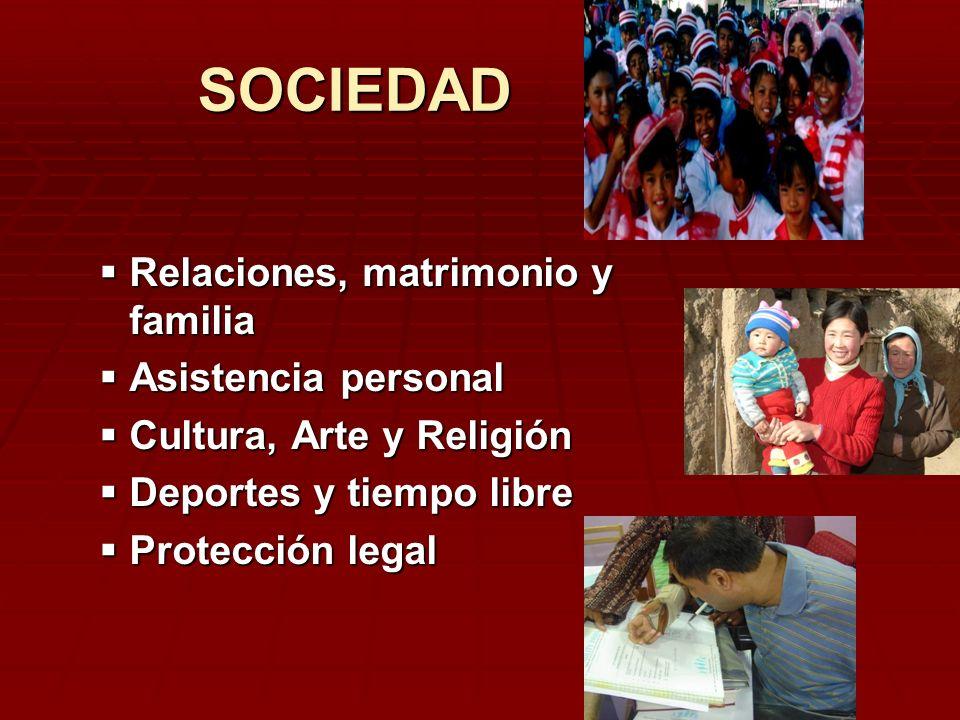 SOCIEDAD Relaciones, matrimonio y familia Asistencia personal