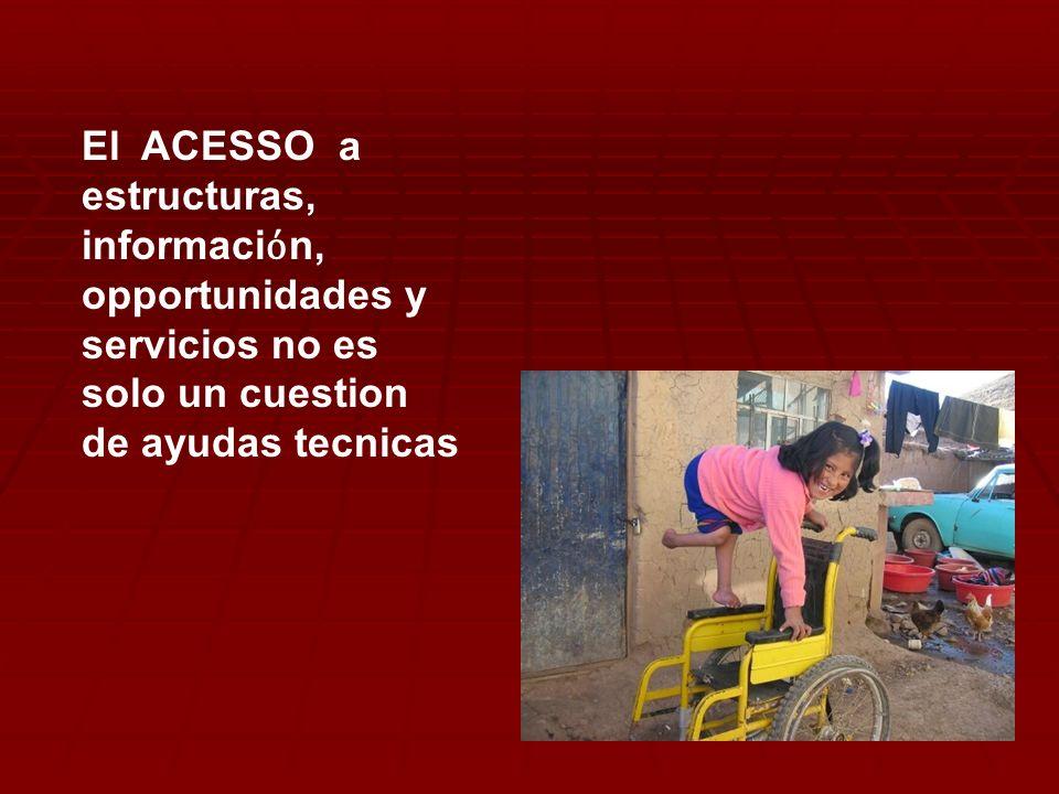 El ACESSO a estructuras, informaciόn, opportunidades y servicios no es solo un cuestion de ayudas tecnicas