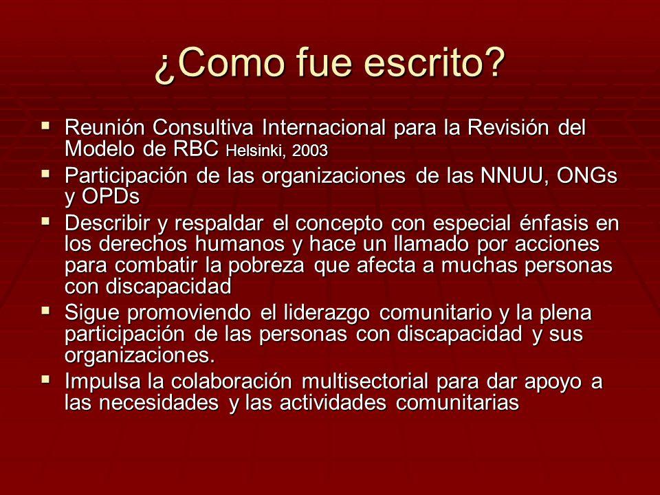 ¿Como fue escrito Reunión Consultiva Internacional para la Revisión del Modelo de RBC Helsinki, 2003.