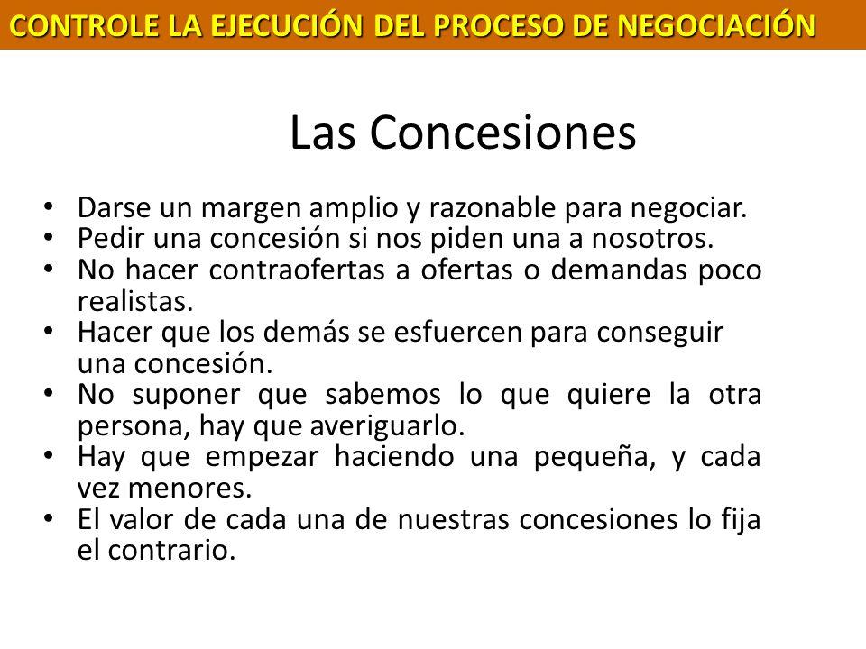 Las Concesiones CONTROLE LA EJECUCIÓN DEL PROCESO DE NEGOCIACIÓN