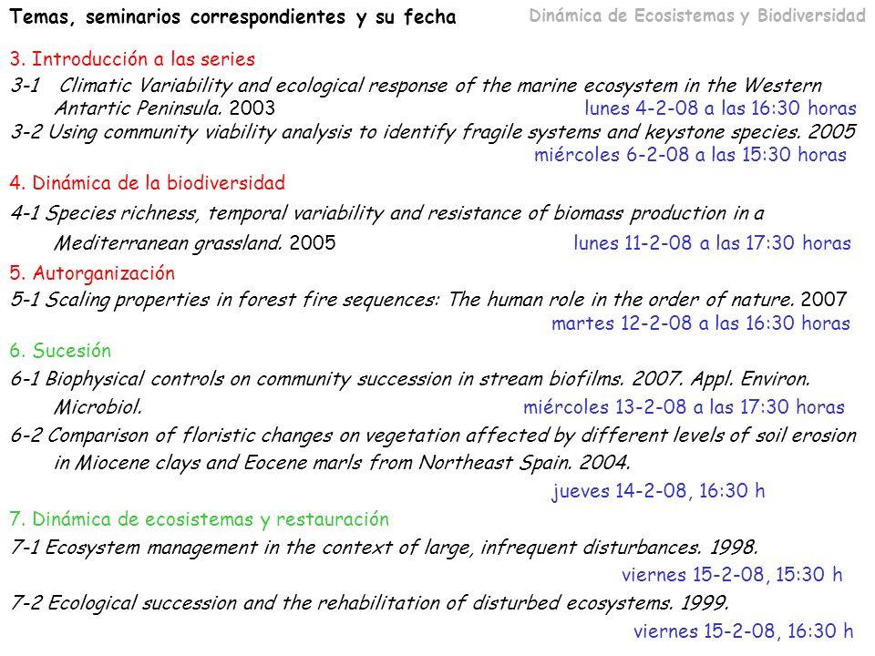 Temas, seminarios correspondientes y su fecha