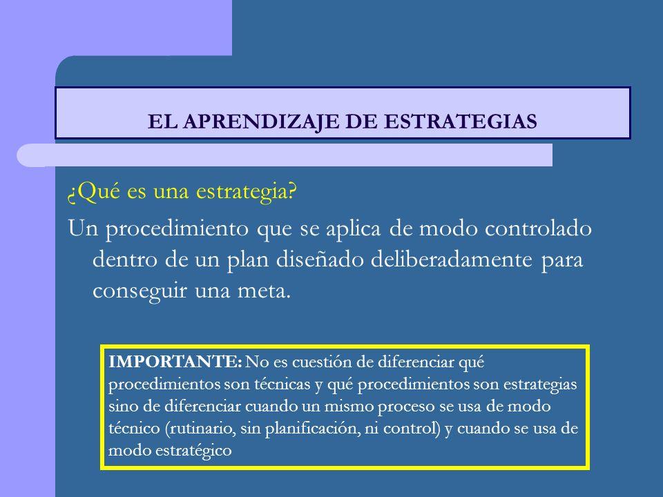 EL APRENDIZAJE DE ESTRATEGIAS