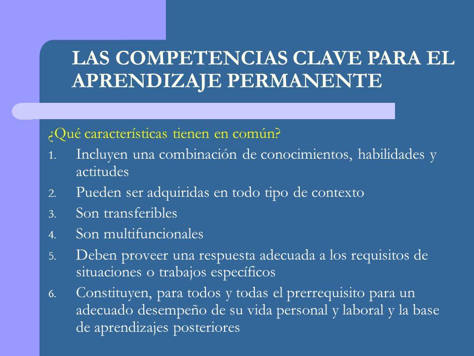 LAS COMPETENCIAS CLAVE PARA EL APRENDIZAJE PERMANENTE