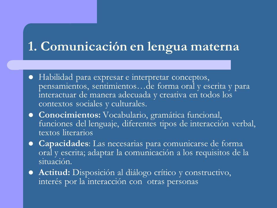 1. Comunicación en lengua materna