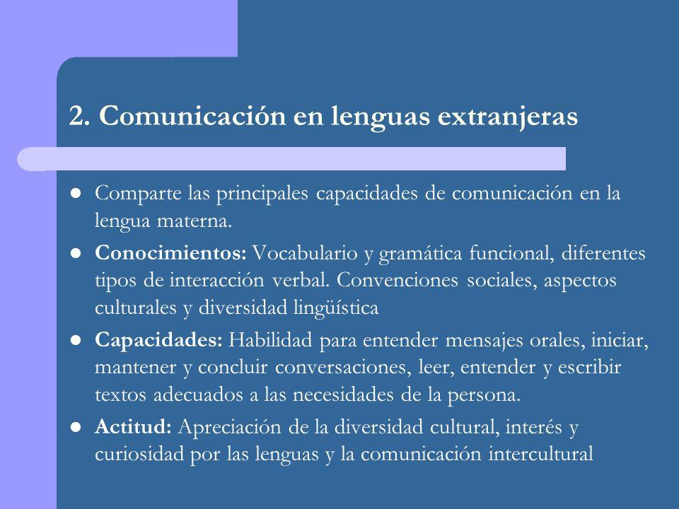2. Comunicación en lenguas extranjeras