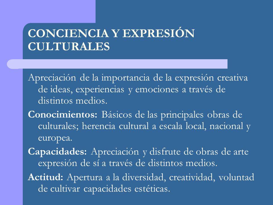 CONCIENCIA Y EXPRESIÓN CULTURALES