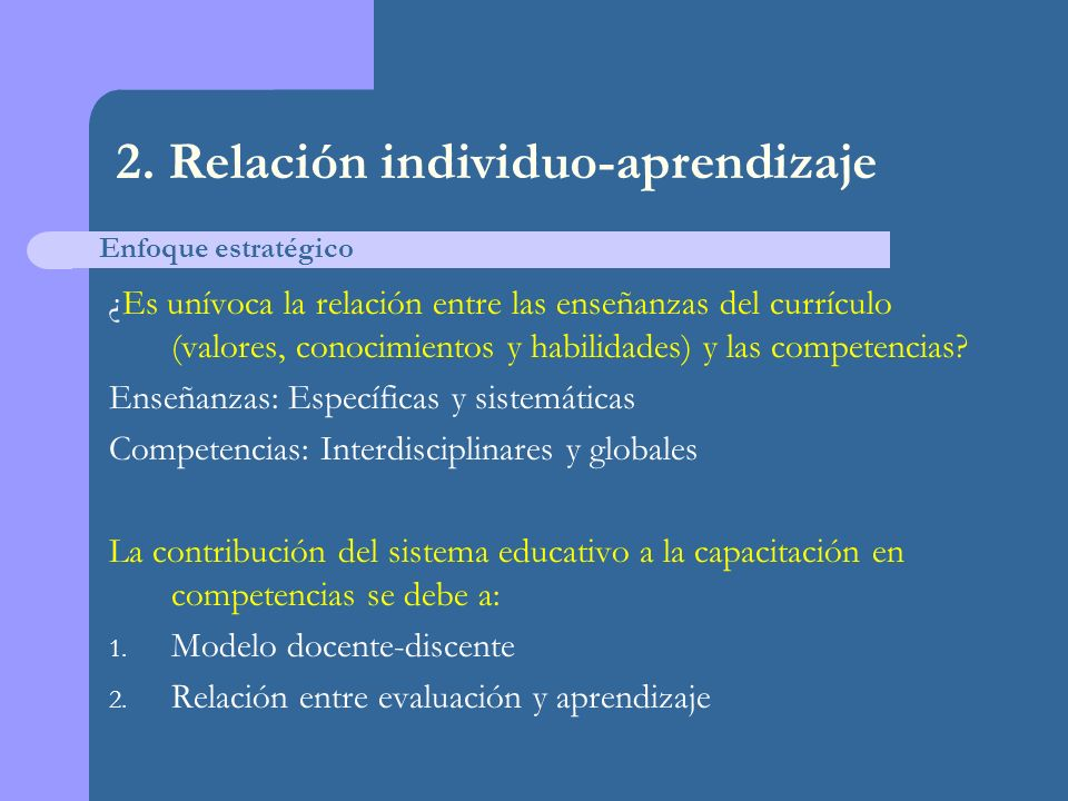 2. Relación individuo-aprendizaje