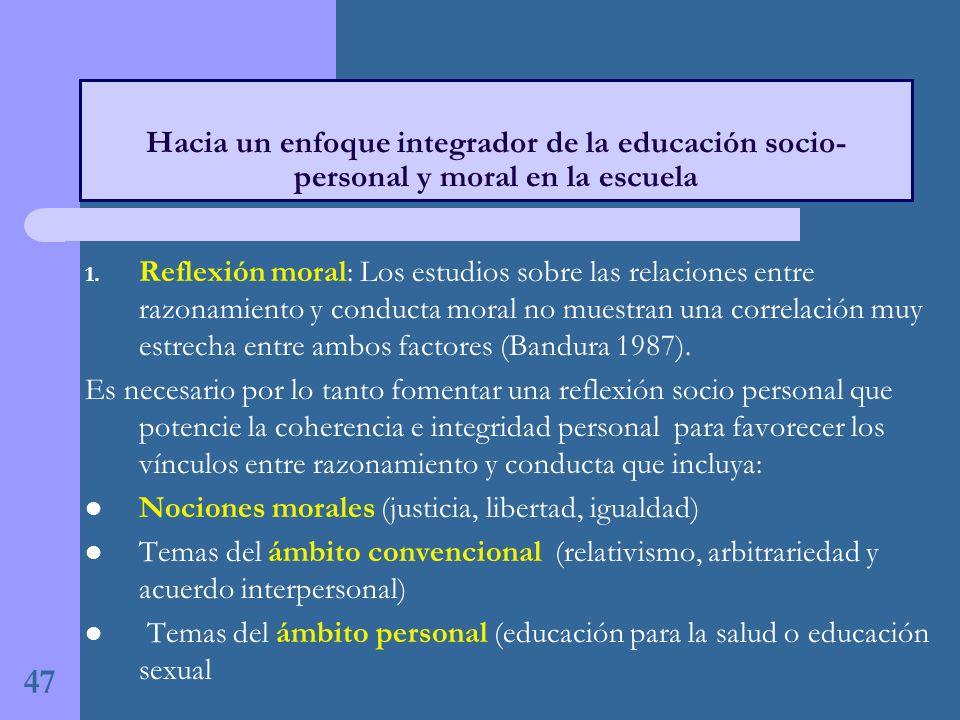 Hacia un enfoque integrador de la educación socio-personal y moral en la escuela