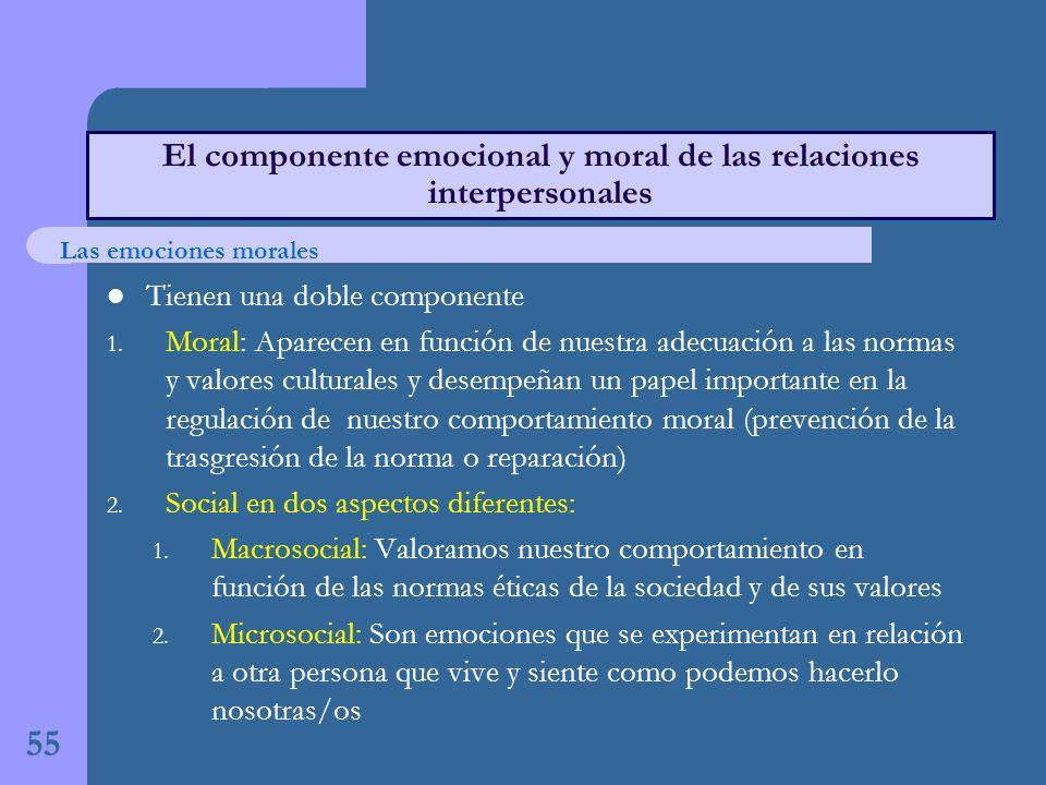 El componente emocional y moral de las relaciones interpersonales