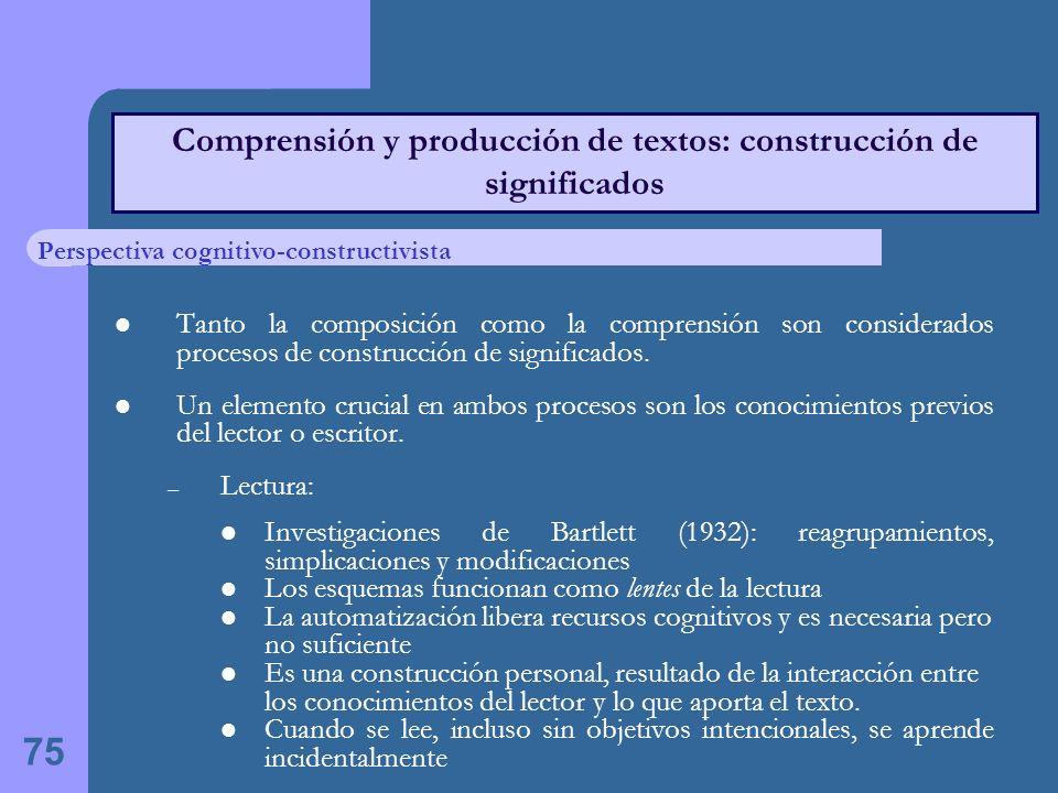 Comprensión y producción de textos: construcción de significados