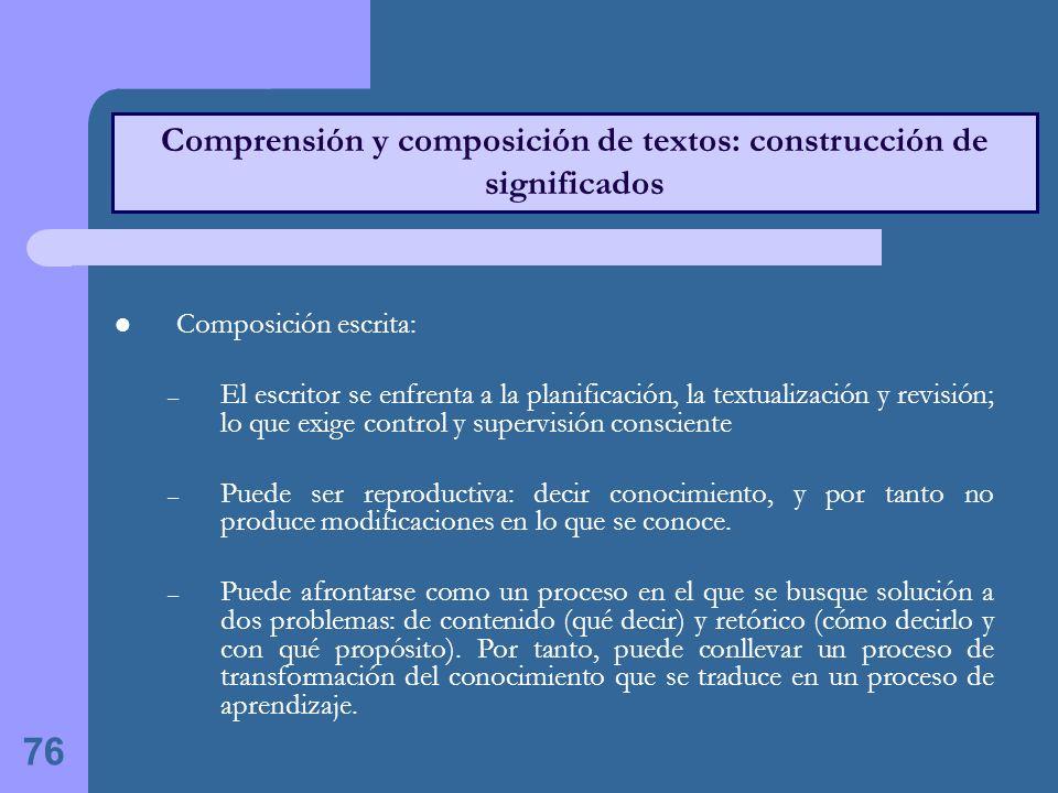 Comprensión y composición de textos: construcción de significados