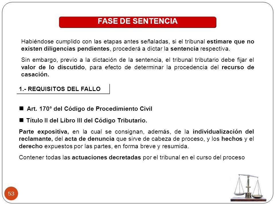 FASE DE SENTENCIA  Art. 170° del Código de Procedimiento Civil