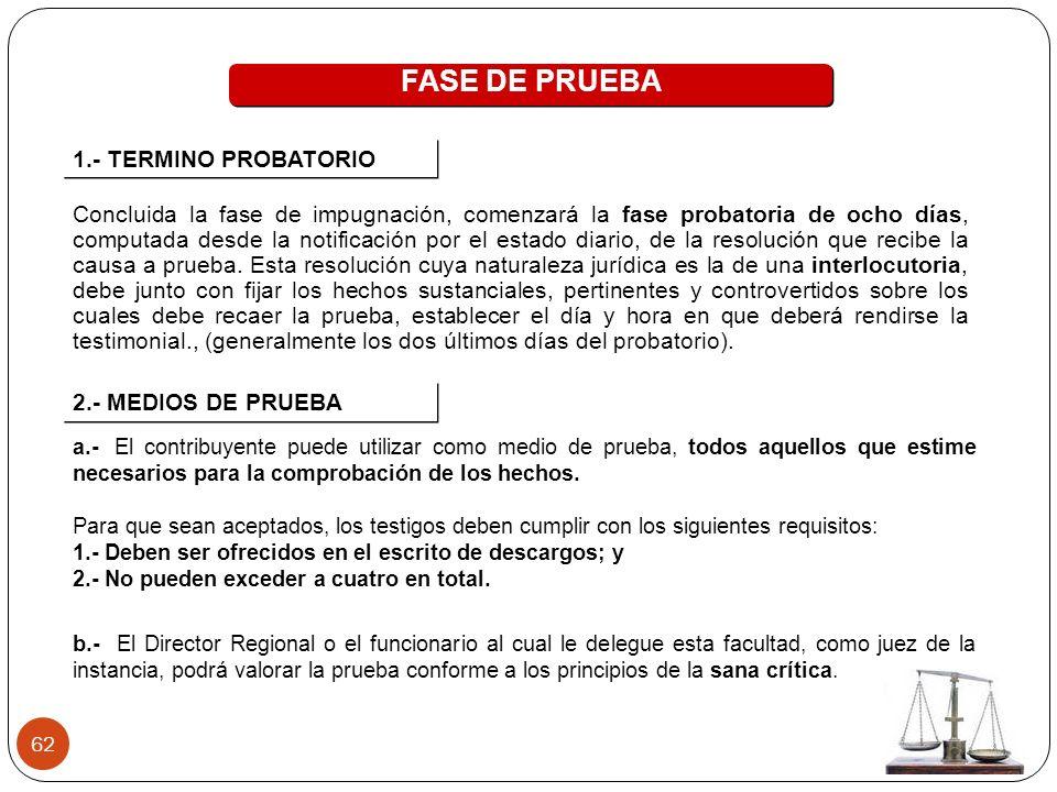 FASE DE PRUEBA 1.- TERMINO PROBATORIO