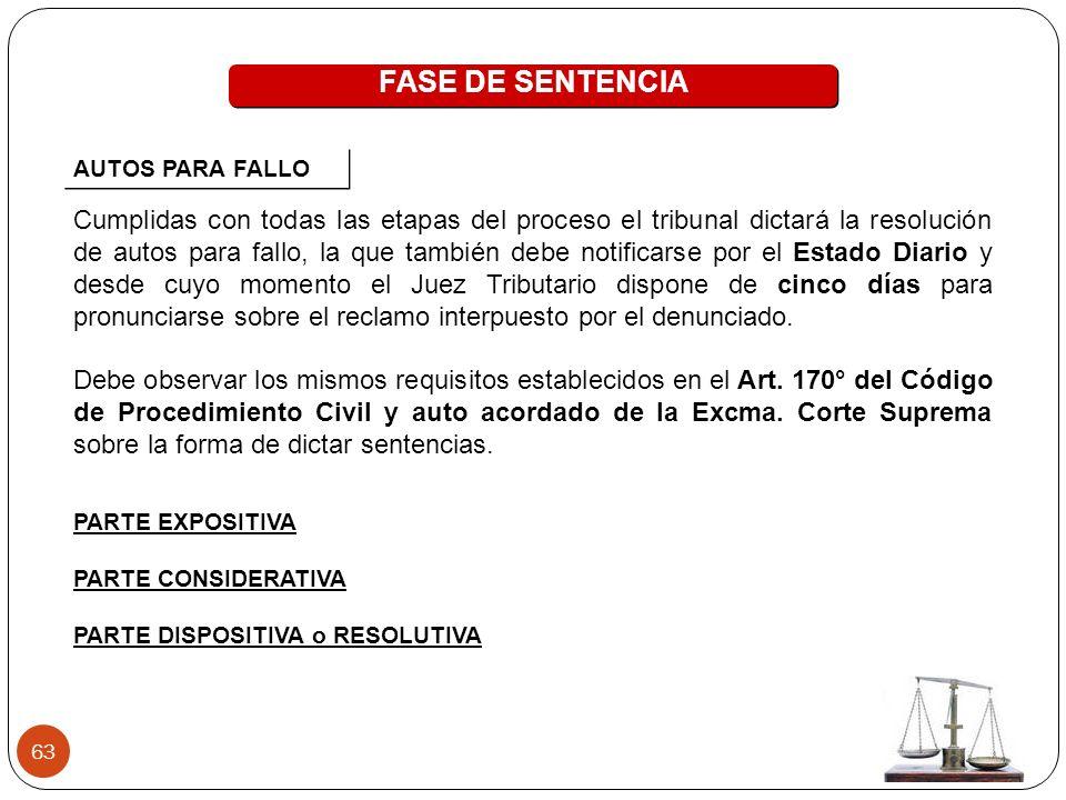 FASE DE SENTENCIA AUTOS PARA FALLO.