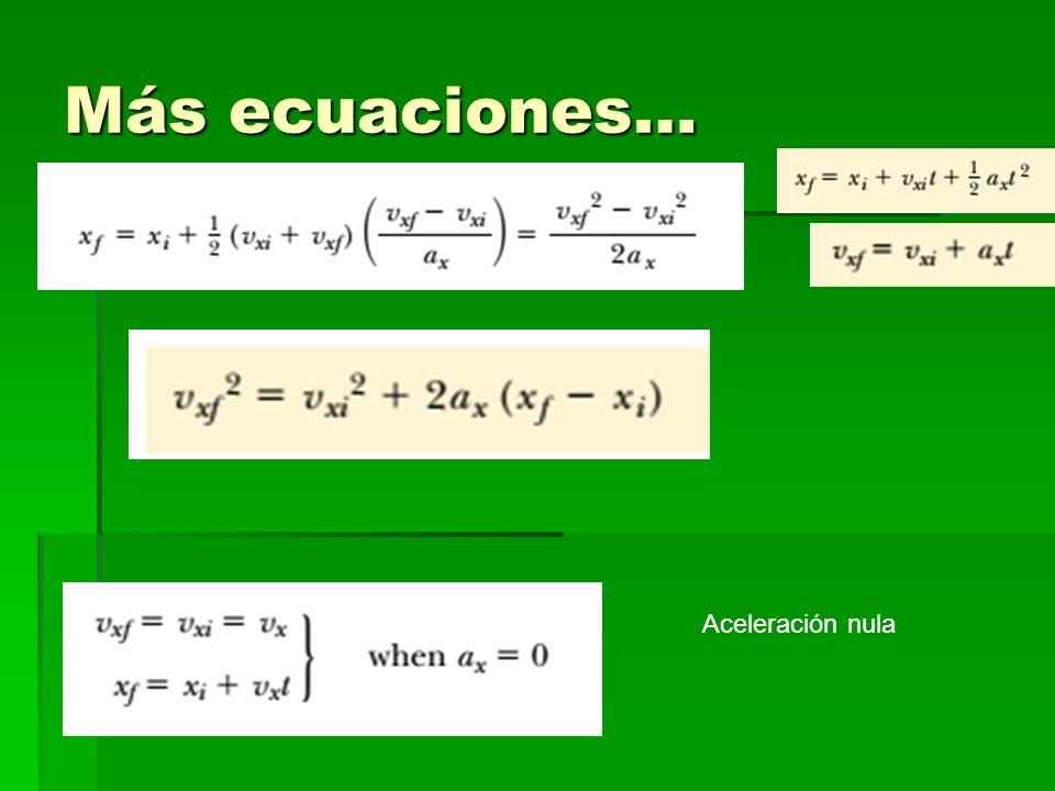 Más ecuaciones… Aceleración nula