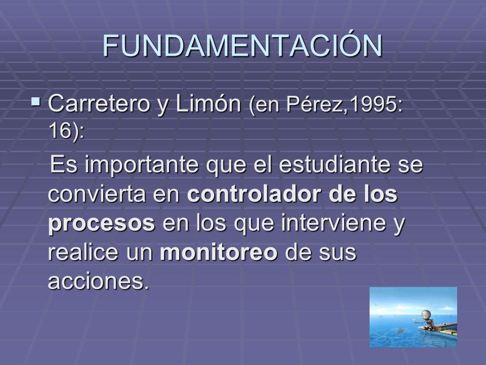 FUNDAMENTACIÓN Carretero y Limón (en Pérez,1995: 16):