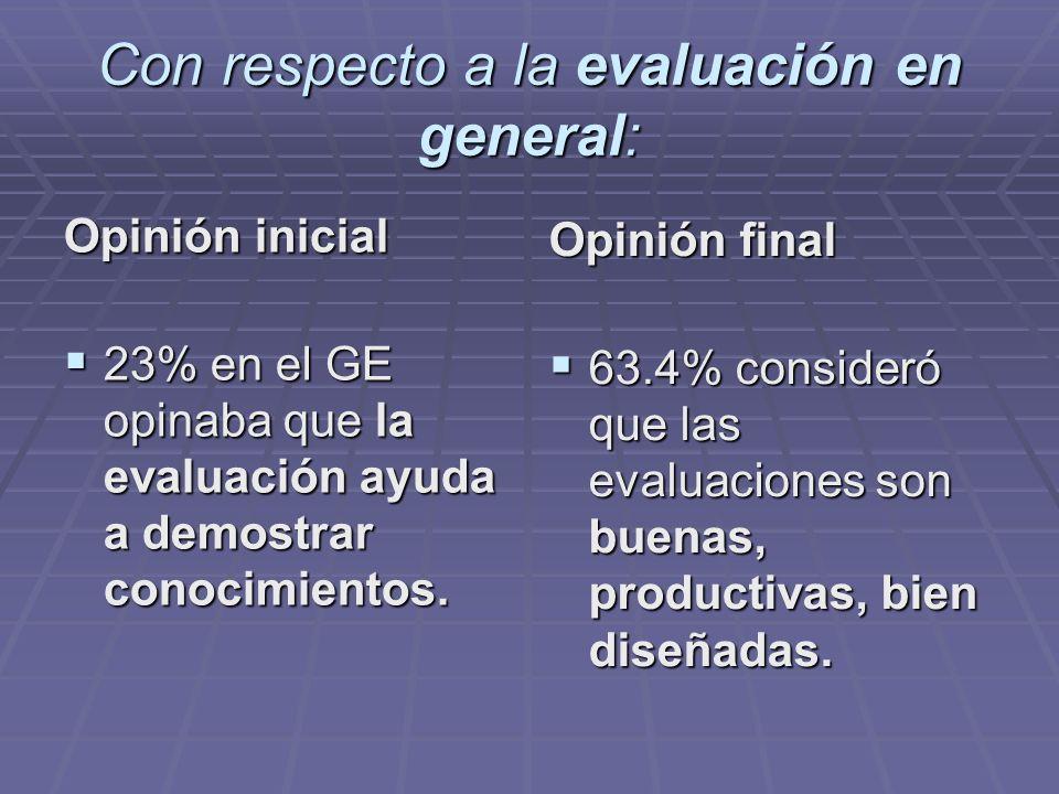 Con respecto a la evaluación en general: