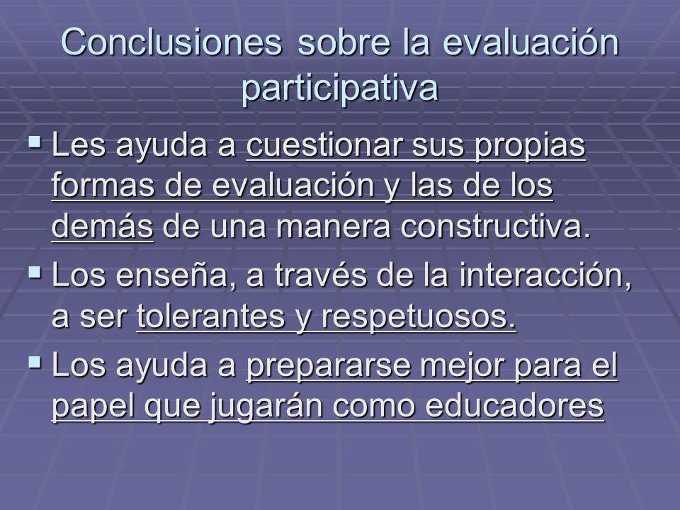 Conclusiones sobre la evaluación participativa