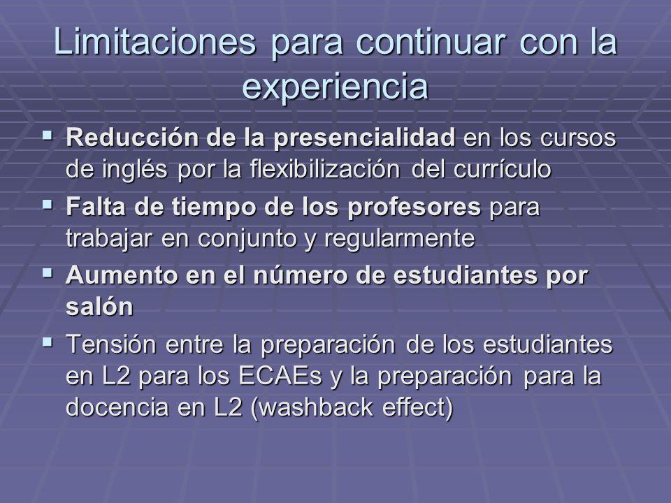 Limitaciones para continuar con la experiencia