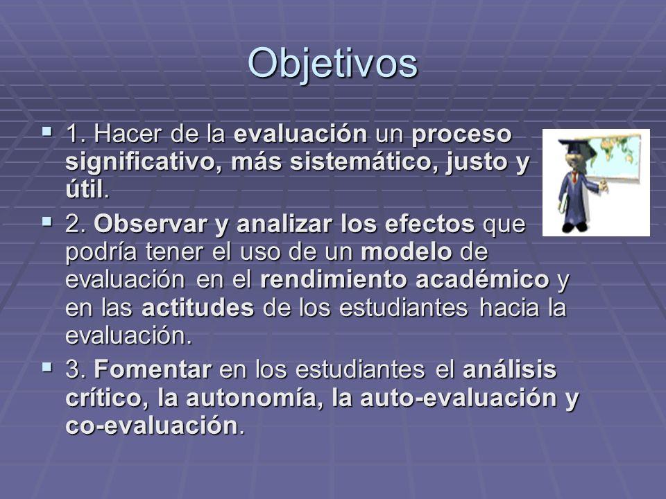 Objetivos 1. Hacer de la evaluación un proceso significativo, más sistemático, justo y útil.