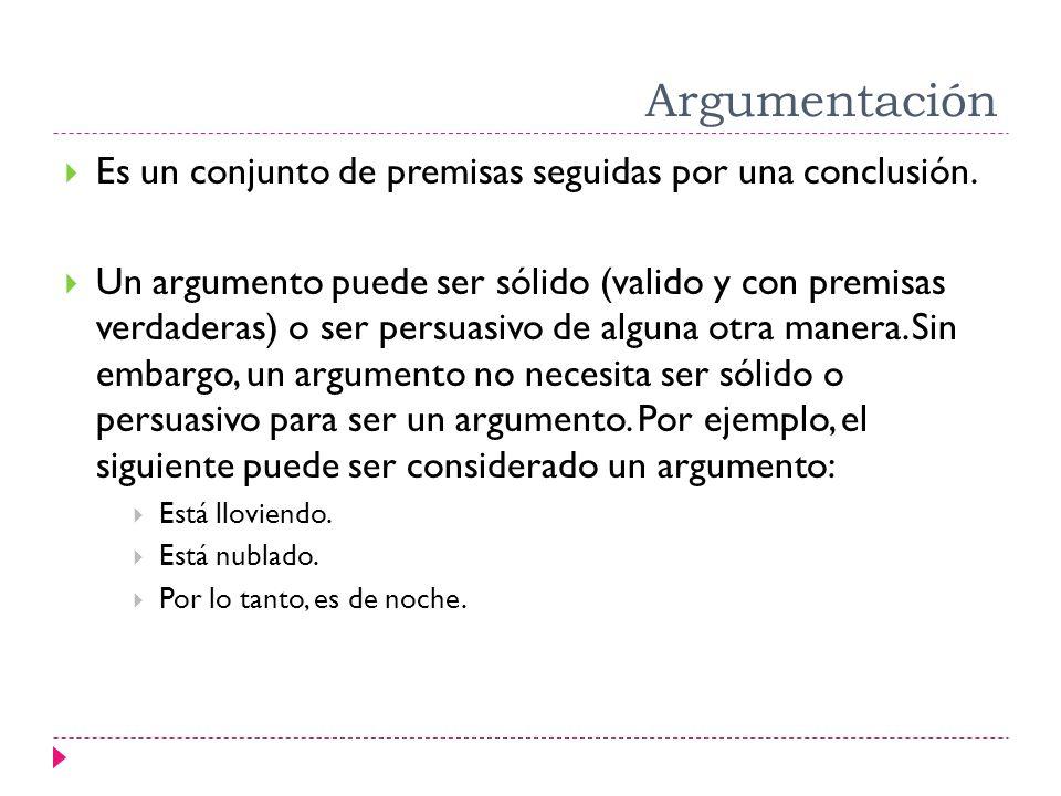Argumentación Es un conjunto de premisas seguidas por una conclusión.