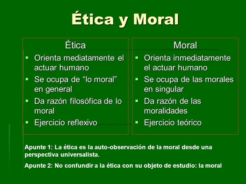 Ética y Moral Ética Moral Orienta mediatamente el actuar humano