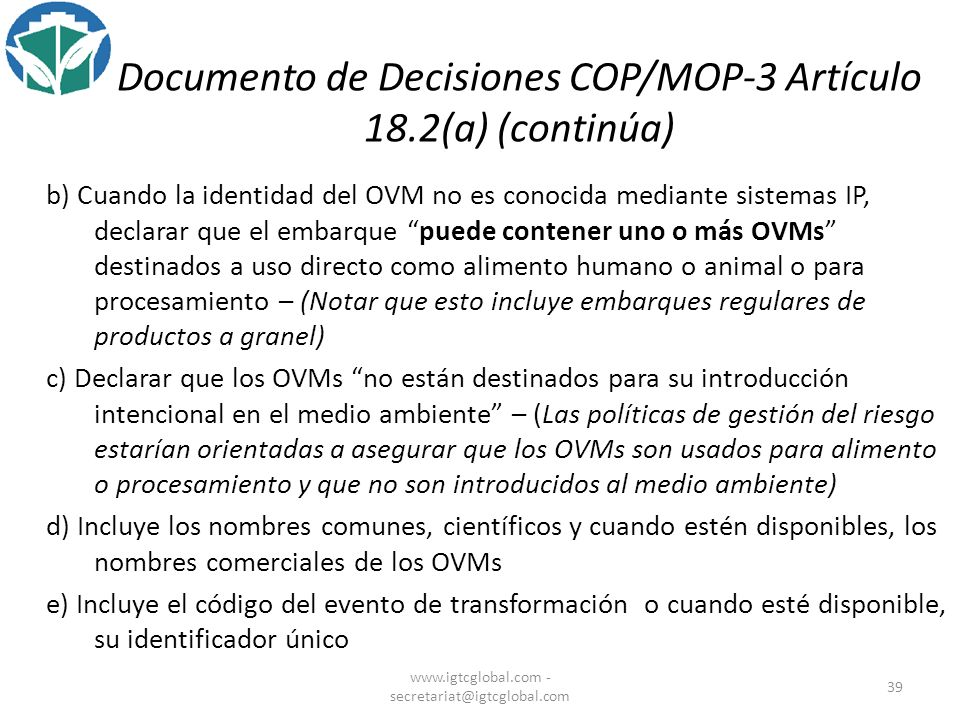 Documento de Decisiones COP/MOP-3 Artículo 18.2(a) (continúa)