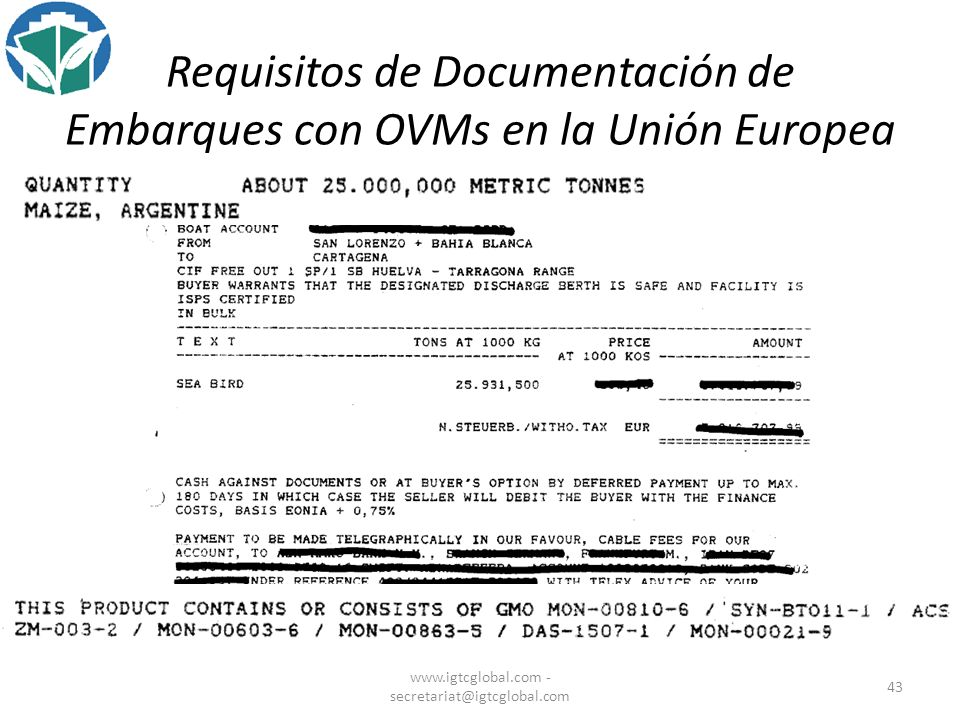Requisitos de Documentación de Embarques con OVMs en la Unión Europea