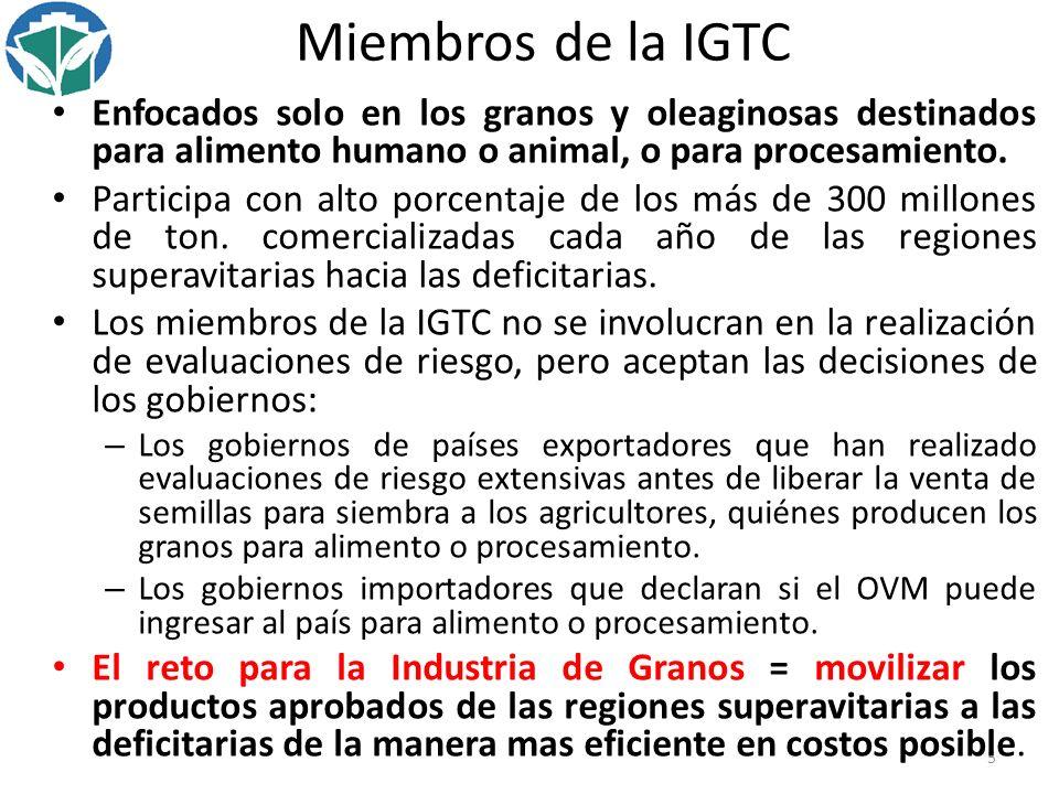 Miembros de la IGTC Enfocados solo en los granos y oleaginosas destinados para alimento humano o animal, o para procesamiento.