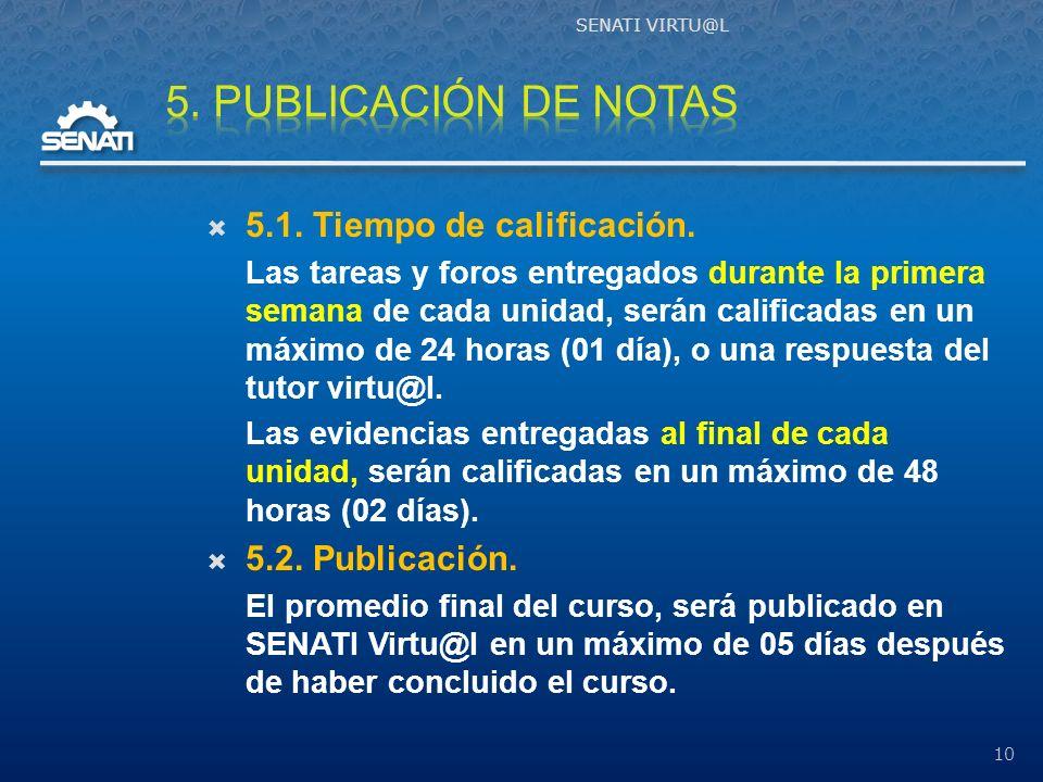5. PUBLICACIÓN DE NOTAS 5.1. Tiempo de calificación. 5.2. Publicación.