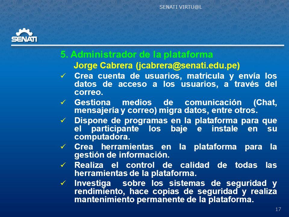 5. Administrador de la plataforma
