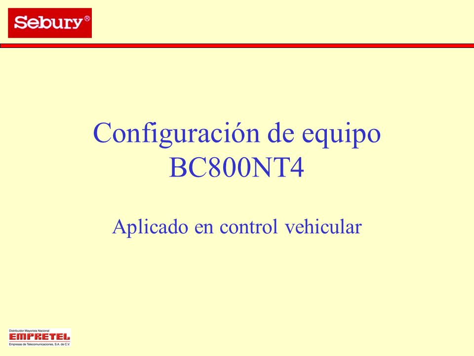 Configuración de equipo BC800NT4