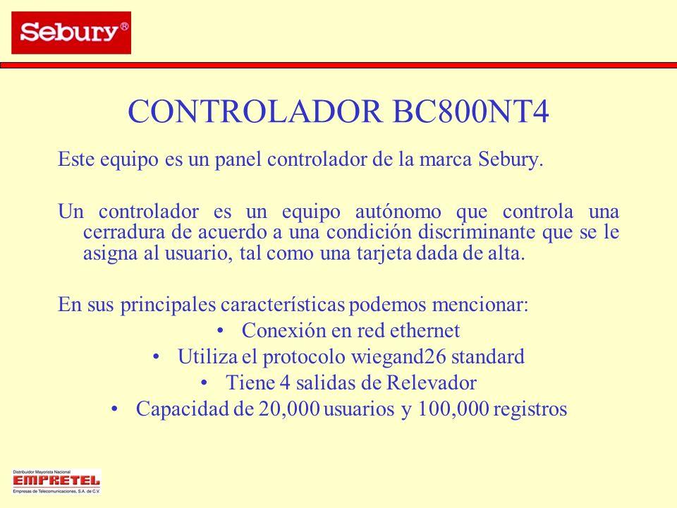 CONTROLADOR BC800NT4 Este equipo es un panel controlador de la marca Sebury.
