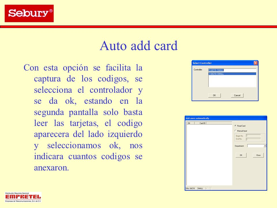 Auto add card