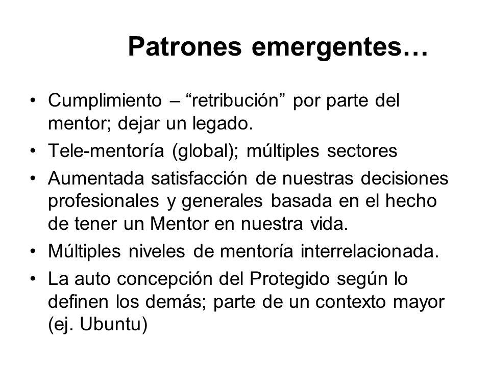 Patrones emergentes… Cumplimiento – retribución por parte del mentor; dejar un legado. Tele-mentoría (global); múltiples sectores.