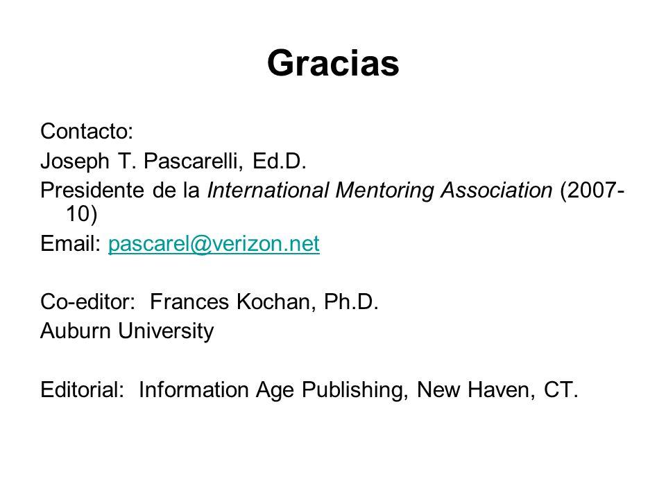 Gracias Contacto: Joseph T. Pascarelli, Ed.D.