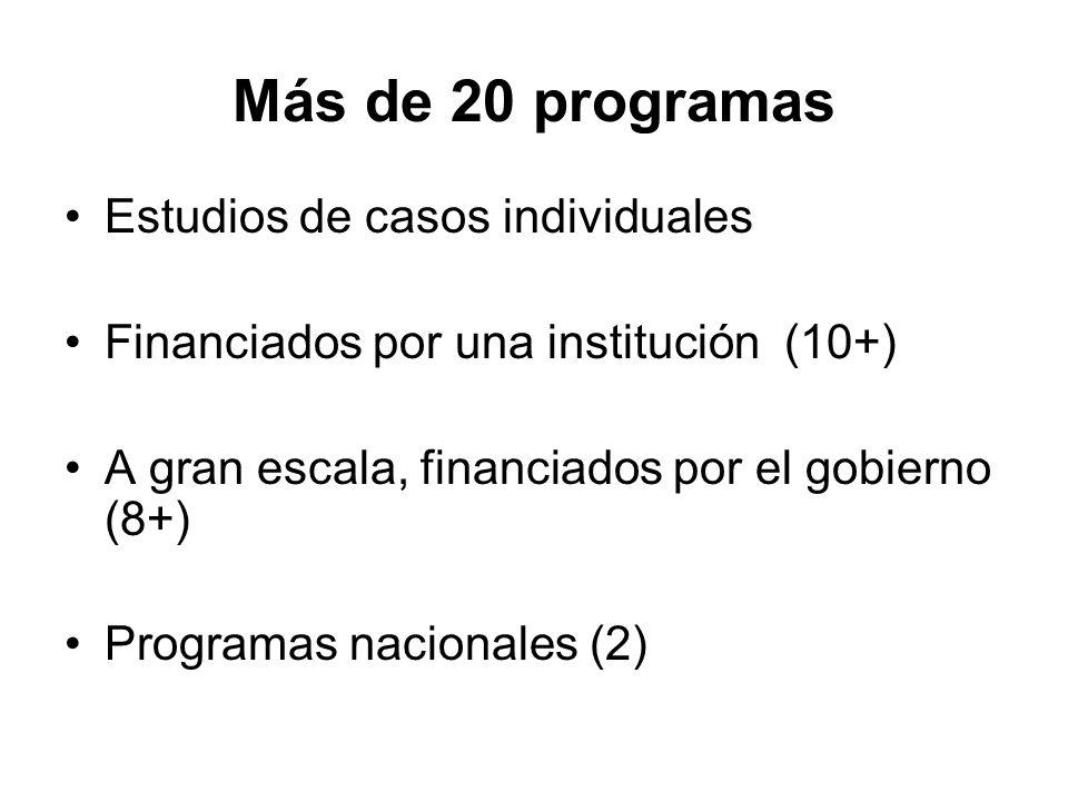Más de 20 programas Estudios de casos individuales