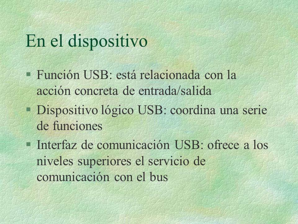 En el dispositivo Función USB: está relacionada con la acción concreta de entrada/salida. Dispositivo lógico USB: coordina una serie de funciones.