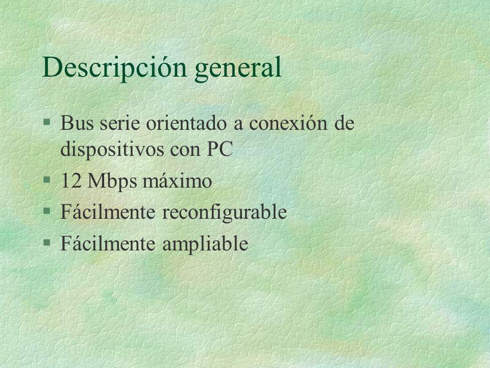 Descripción general Bus serie orientado a conexión de dispositivos con PC. 12 Mbps máximo. Fácilmente reconfigurable.
