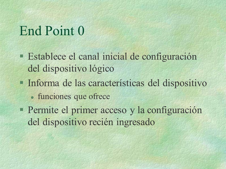 End Point 0 Establece el canal inicial de configuración del dispositivo lógico. Informa de las características del dispositivo.