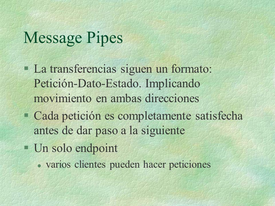 Message Pipes La transferencias siguen un formato: Petición-Dato-Estado. Implicando movimiento en ambas direcciones.