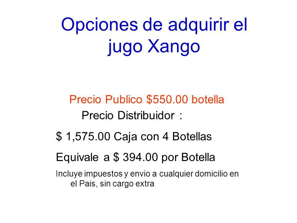Opciones de adquirir el jugo Xango